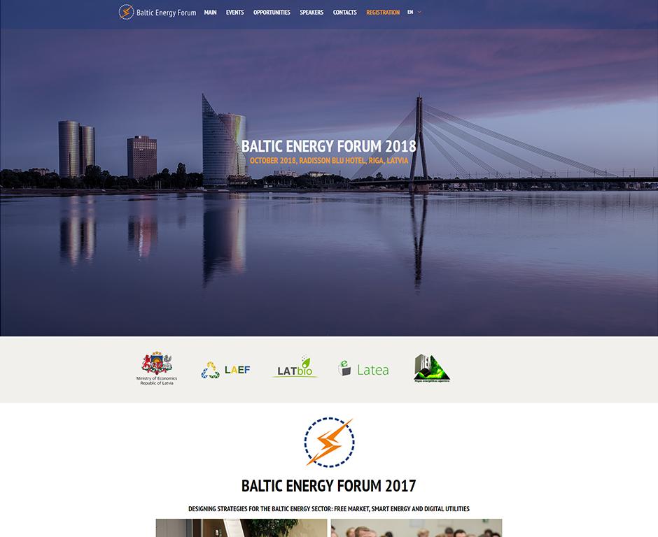 Создание домашней страницы Baltic Energy Forum