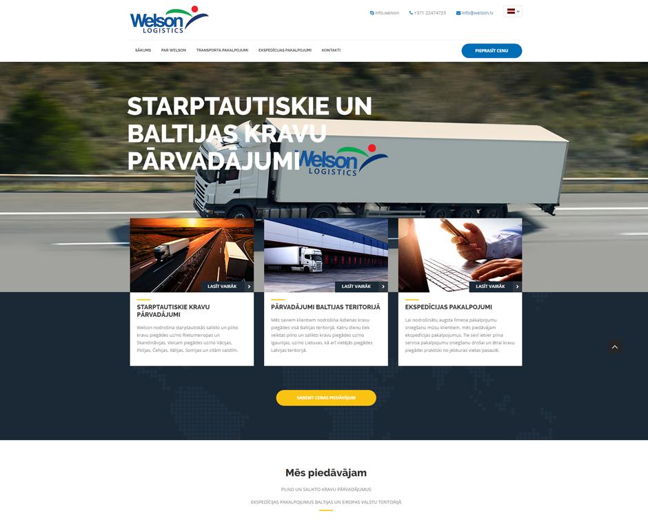 Welson loģistikas mājas lapas izstrāde