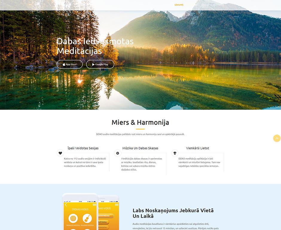 DZAO meditācijas landing page izstrāde